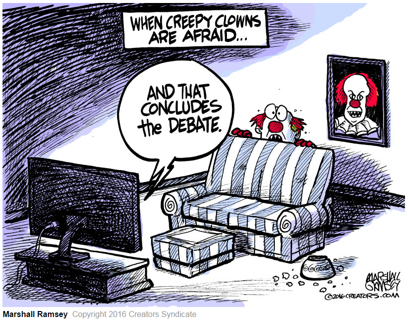"Image: ""Debate scares creepy clowns"""