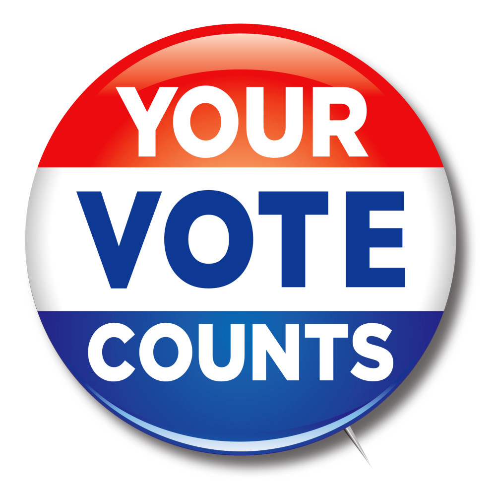 Image: Button of 'Your Vote Counts'