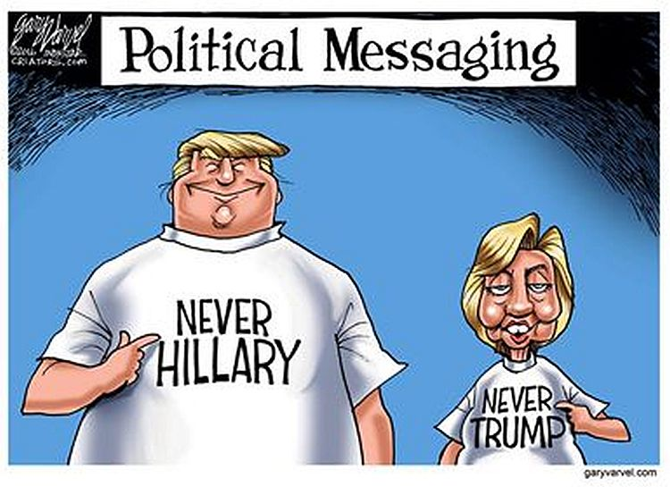 "Image: Cartoon ""Never Hillary Never Trump"""