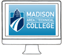 madison college logo on computer
