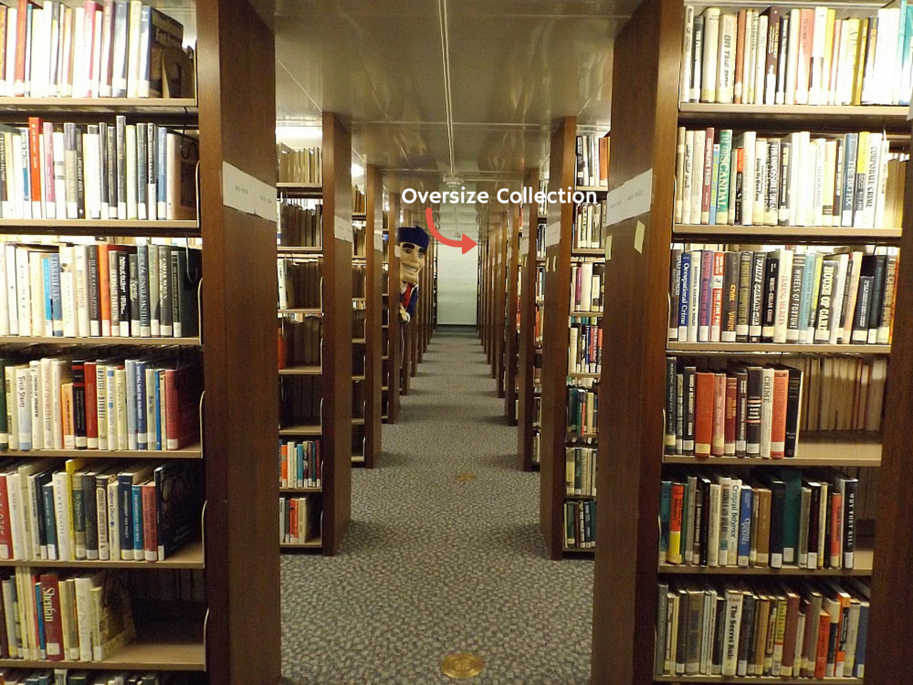 Senator Sam peeking out of the second floor stacks. Arrow indicating Oversize Collection is back and to the right