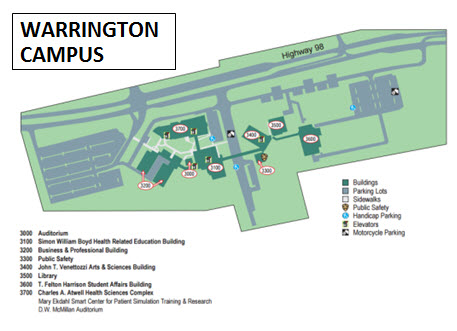 Warrington Campus map