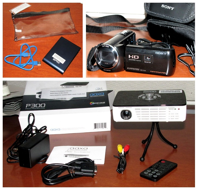 Pictures of device charger, camcorder, and other media available for check out. Click on image to see all items for checkout.