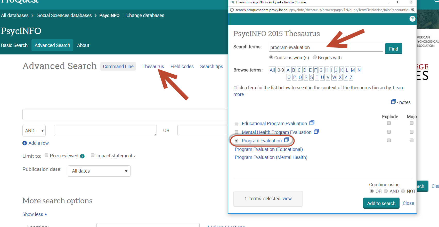 Searching Psycinfo Using Subject Tags Via The Thesaurus