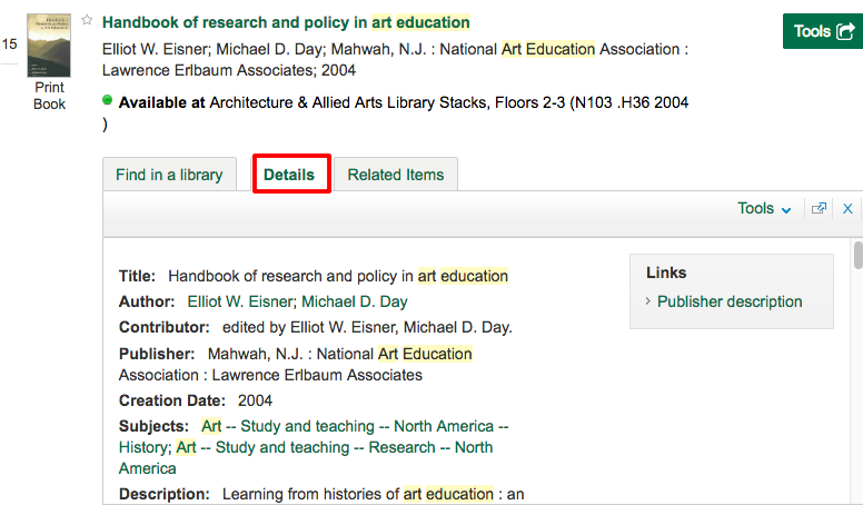 "Screenshot of LibrarySearch results with ""Details"" tab highlighted."