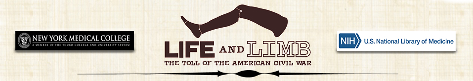 Life and Limb: The Toll of American Civil War exhibit banner presented by NYMC and NIH-NLM