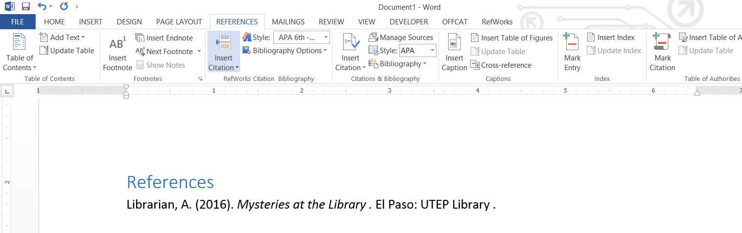 Creating a Reference List and Intext Citations in Microsoft Word – Word Reference List