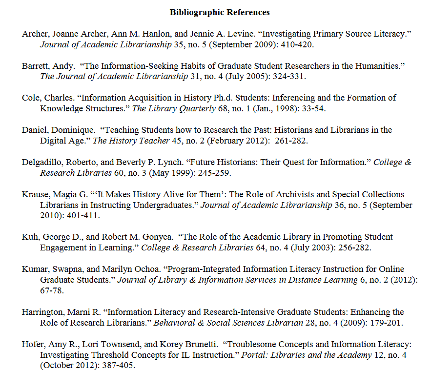 Bibliography for the Essay