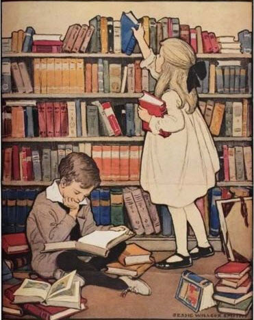painting of children in a library