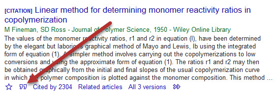 citation link in google scholar
