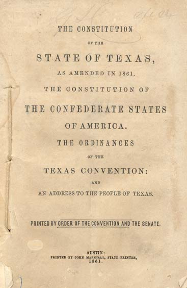 Photo of The Constitution of the State of Texas as Amended in 1861