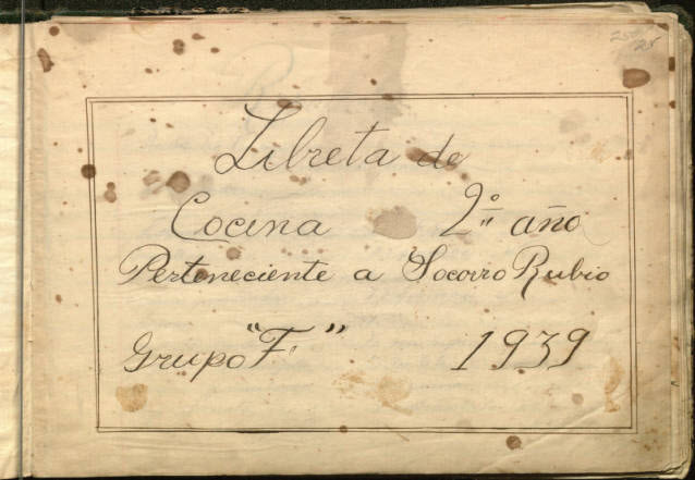 Title page of Libreta de Concina, handwritten recipe book from 1939
