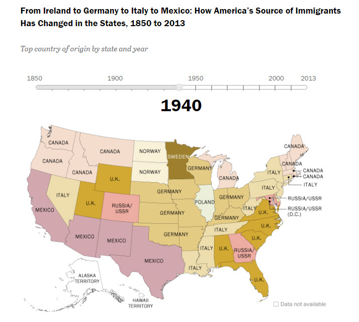 Pew Research U.S. Map Immigration 1850-2013