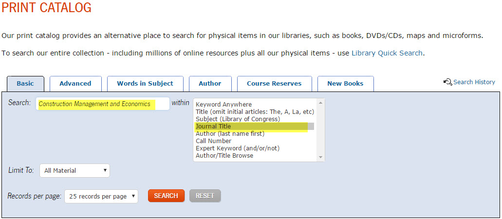 example of searching the print catalog by journal title