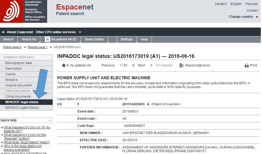 In An Espacenet Search Look At The INPADOC Legal Status Field
