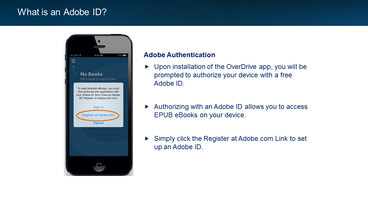What is an Adobe ID? Adobe Authentication - Upon installation of the OverDrive app, you will be prompted to authorize your device with a free Adobe ID.