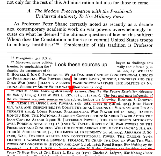 footnotes showing most well-known and influential books on the subject of President's unilateral authority to use military force