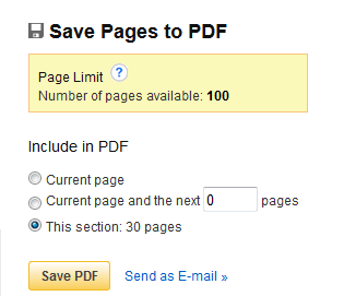 Save Pages to PDF dialog. Number of pages available: 100. This section: 30 pages.