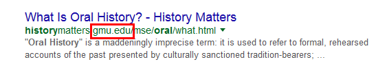 What is Oral History? Google result from George Mason University website