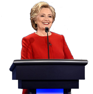 Hillary Clinton speaking behind microphone