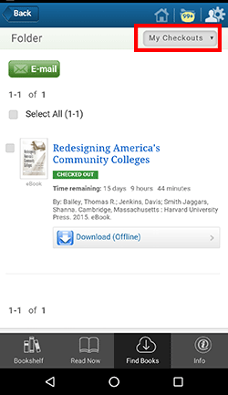 EBSCO ebooks app - My checkouts area shows currently checked-out titles