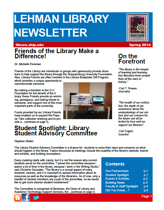 Library Newsletter - Sproing 2014 cover