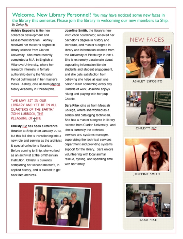 library newsletter page 2 - use 'library newsletter - fall 2014' link
