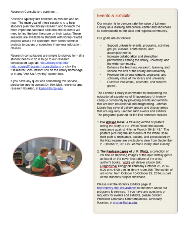 library newsletter page 5 - use 'library newsletter - fall 2014' link