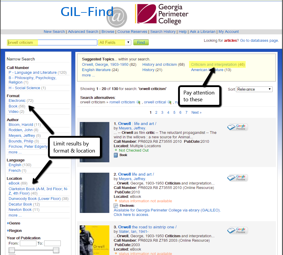 screenshot of GIL Find search