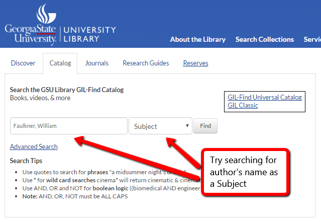 screenshot of author's name as subject search