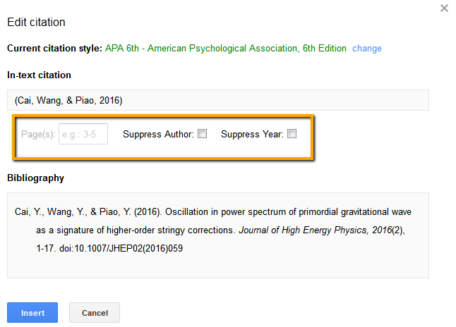 Screenshot of citation editing feature