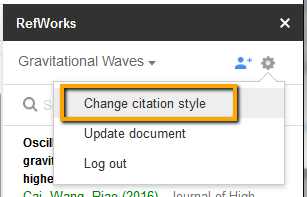 Screenshot on how to change citation styles
