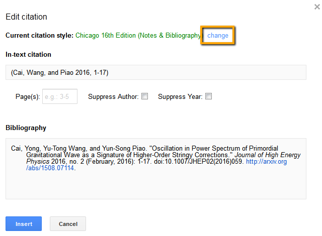 Screenshot on how to change current citation style