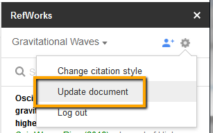 Screenshot on how to update or delete citations