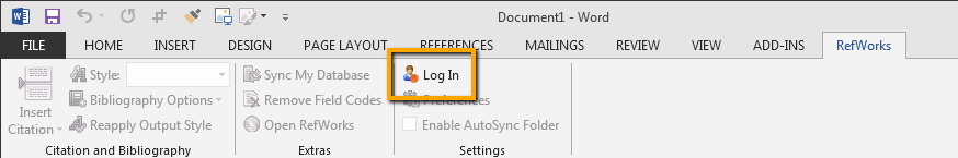 Image showing RefWorks login link in Microsoft Word