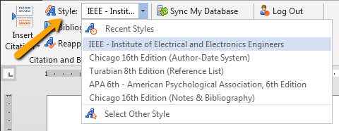 Image showing how to change citation style for RefWorks in Word