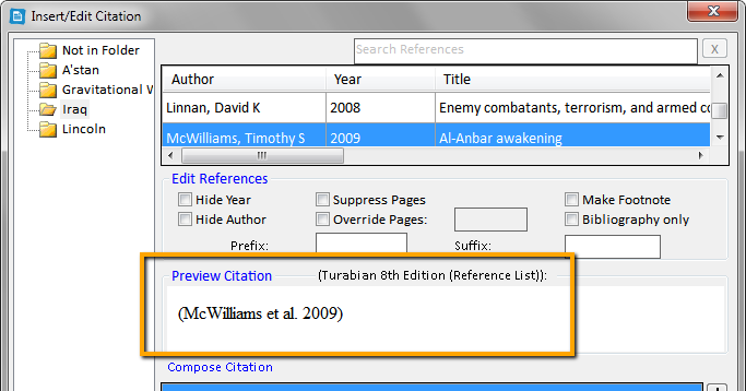 Image of a preview citation in RefWorks