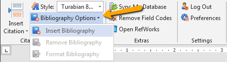 Insert showing the Bibliography Options link on the RefWorks ribbon in Word