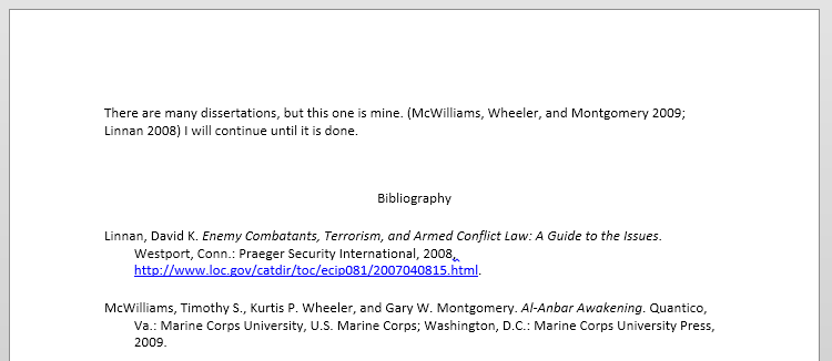 Screenshot of a Word document with a bibliography
