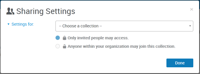 This image highlights how users can modify or set the sharing settings for RefWorks items.