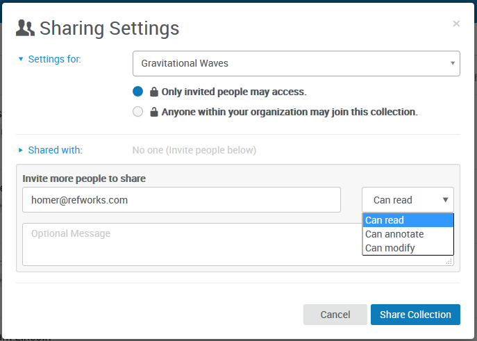 The different sharing permissions available in RefWorks: edit, comment, or view.