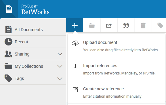 Image showing the options for adding references to RefWorks
