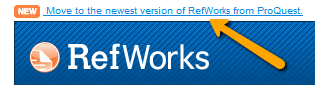 Screenshot of the link to Move to newest version of RefWorks