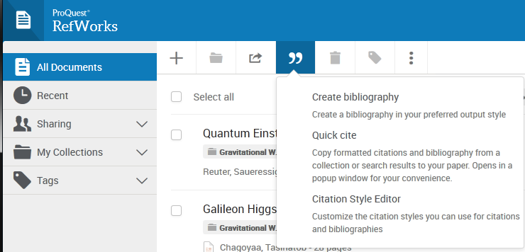 Screenshot showing the Create bibliography menu