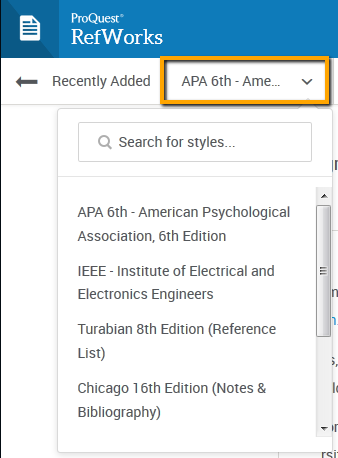 Screenshot showing search box for citation styles