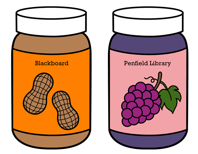 Peanut butter & jelly jars, with 'Blackboard' & 'Penfield Library' written on them