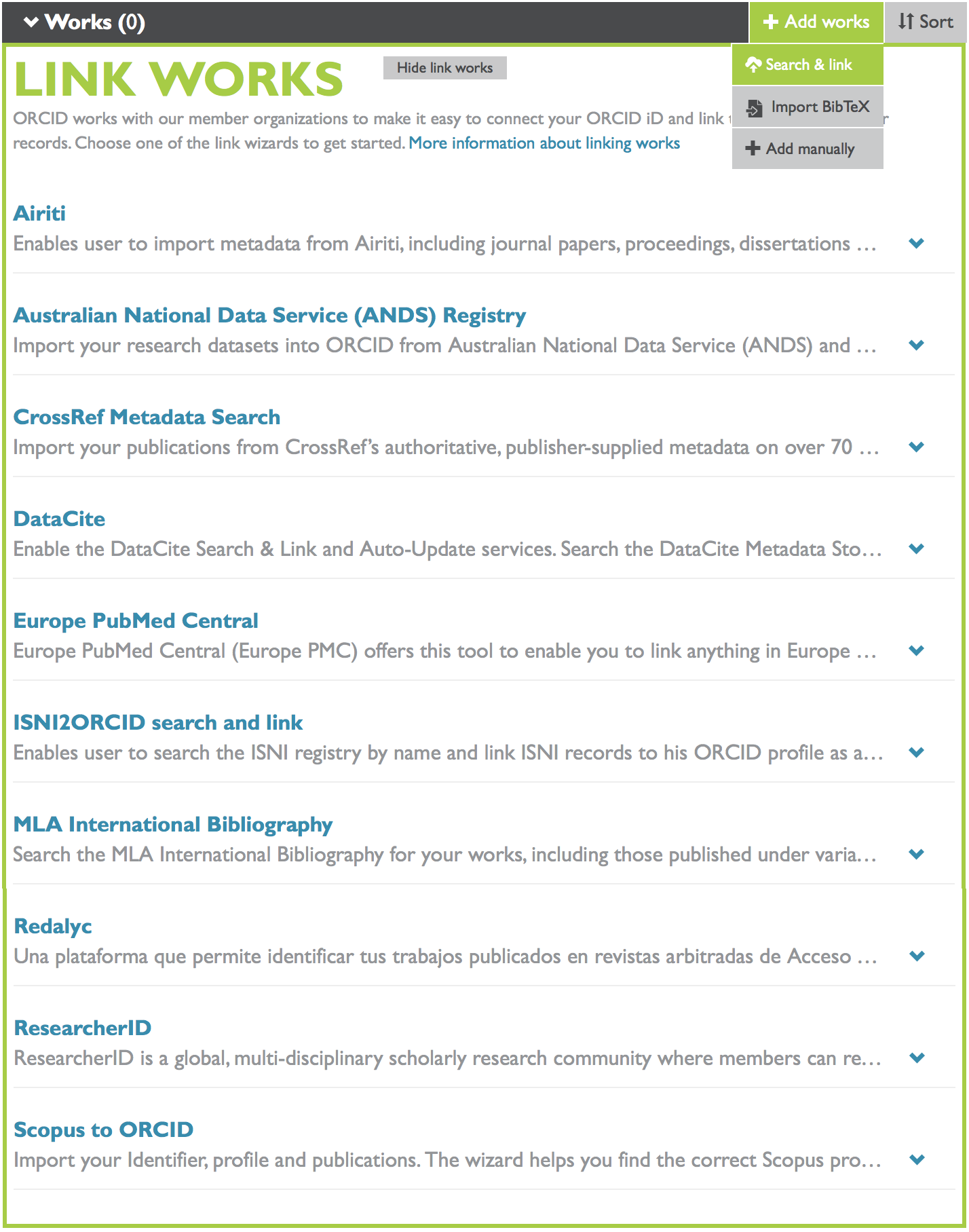 Search and link works to ORCID profile screenshot