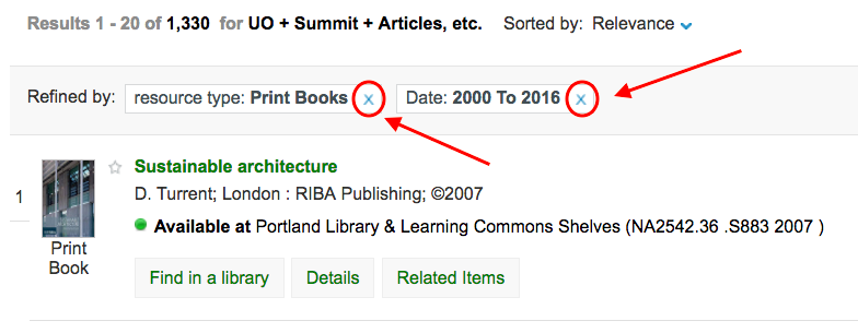 Screenshot of the used facets at the top of LibrarySearch results.