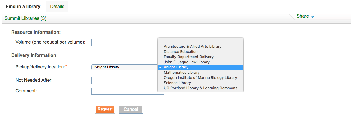 Screenshot of selecting the library pick up location for Summit requests.