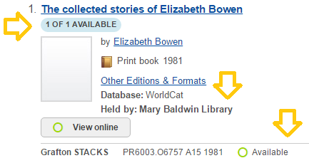 image of a record in GLDYS highlighting the 1 of 1 available, held by Mary Baldwin Library and Available text.